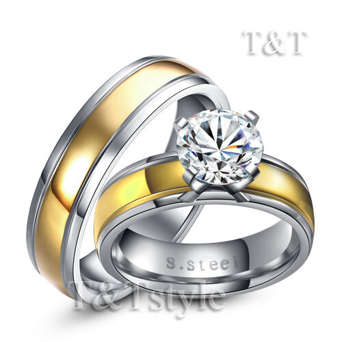 T&T 14K Gold GP Stainless Steel Engagement Wedding Band Ring with CZ For Couple