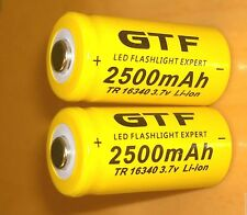2x 16340 GTF 2500 3.7 V Rechargeable Protected High QualityLi-ion BARGAIN