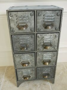 Small Bank Of 8 Industrial Drawers Vintage Drawer Metal Storage