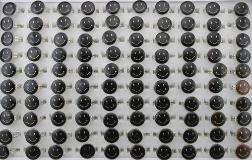 Lots 50pcs Mood Change color Temperature Smiling Face Design adjustable rings
