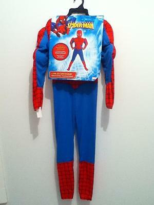 Spiderman  Super Hero DC Comic Costume Muscle suit, face mask NWT Tall 7-8