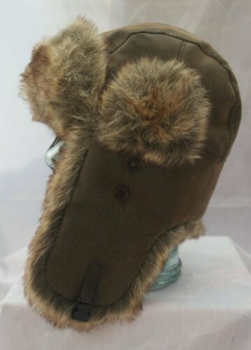 Classic Leather Look Bomber Trapper Hat Sz 59cm