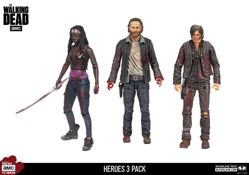 THE Walre Dead Hero 3 Pack 5 azione cifraRick Daryl Michonne McFarlane