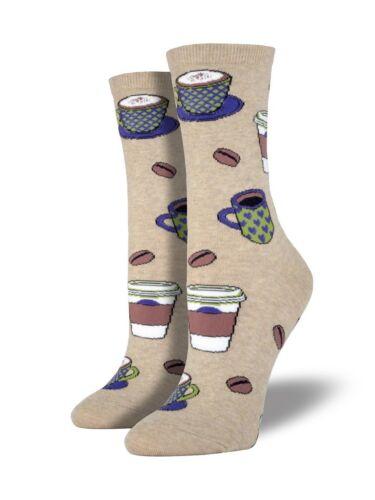 Socksmith  Womens Novelty Crew Socks Coffee Love You a Latte Brown Hemp One Size