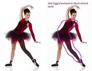 ecdf04f980528 Details about Child S Stretch Mesh Unitard One Legged, One Shoulder Dance  Costume Accessory