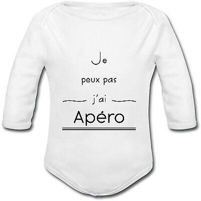 manches longues ou courtes naissance Body Bébé Je peux pas j/'ai Apéro Humour