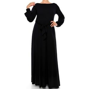 Womens-Plus-Size-Janette-Fashion-Black-Bell-Long-Sleeve-Maxi-Dress-1X-3X