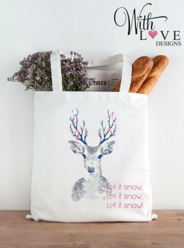 REINDEER LET IT SNOW TOTE SHOPPER SHOPPING BAG CHRISTMAS PARTY GIFT PERSONALISED