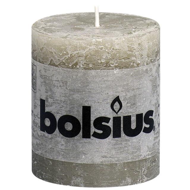 6 Bolsius Rustik Stumpen Kerzen 80x68 mm kieselgrau Bolsius Rustic Kerzen