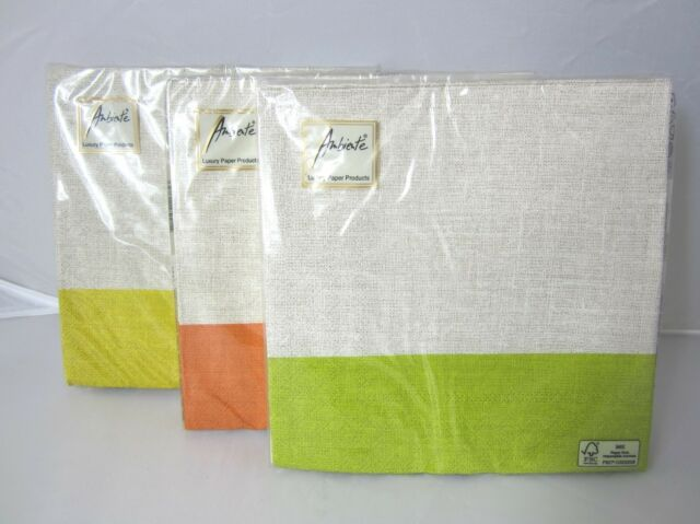 40PK AMBIENTE 3PLY LUNCH  NAPKINS LINEN NATURAL GREEN YELLOW ORANGE 33x33cm