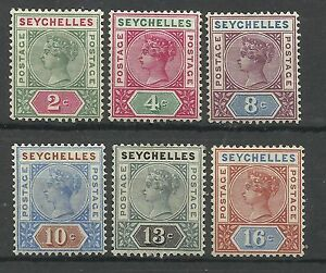 Seychelles 1892, Set of 6, Sg 9-14, Die 2, Lightly Mounted Mint