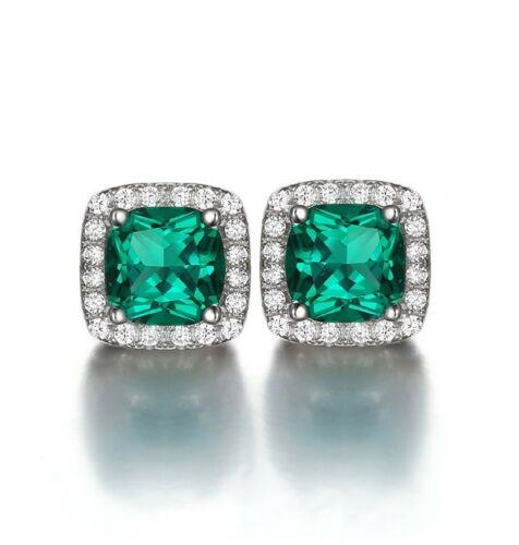 Halo cushion cut Emerald green /& created diamond earrings 2.1ct