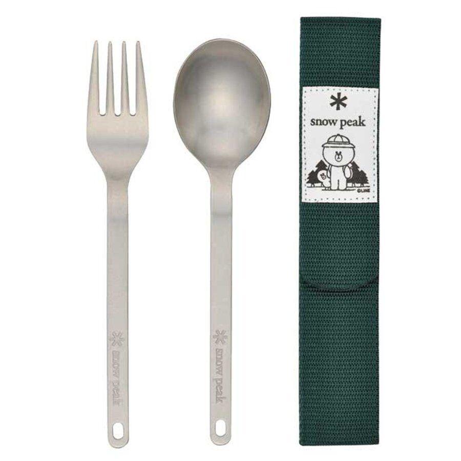Snow Peak LINE LINE LINE FRIENDS Wapper Weapons Titanium Camping Spoon Fork Set Japan 059977