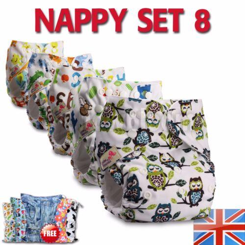 8 Washable Reusable Pocket Standard Cloth NAPPY Diaper +16 Microfibre inserts