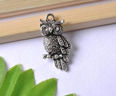 NP66 lots 10pcs Tibetan Silver owl Charms Pendants 23MM Free Shipping