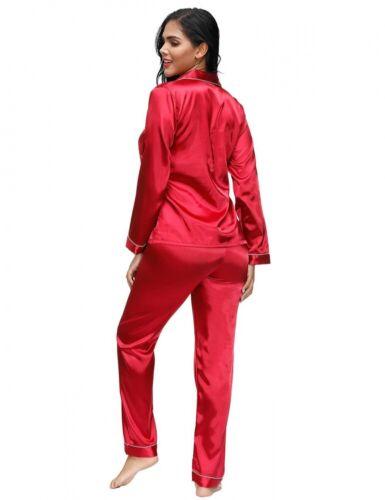 Lau-Fashion Pyjama Schlafanzug Satin Look Rot Langarm zweiteilig Hosen Anzug S//M