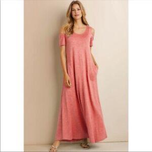 SOFT-SURROUNDINGS-Electra-Maxi-Dress-Pink-Heathered-Cold-Shoulder-Medium-Petite