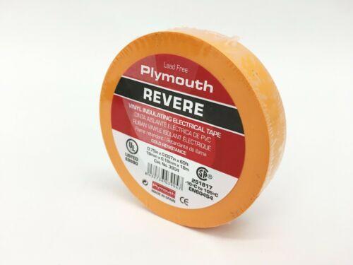 "Plymouth Rubber 3904 Revere Orange 7 Mil Vinyl Electrical Tape 3//4/""x 60/' Spain"