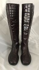 NWOB DKNY Brown Knee High Tall Leather Croc Textured Shaft Boots Size 7 M