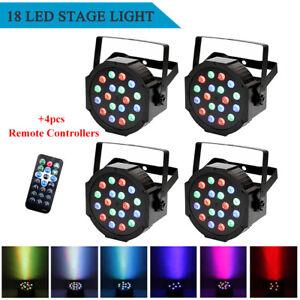 4PCS 36W RGB 18LED PAR Stage Lighting DMX Party Wedding DJ Disco Lighting Remote