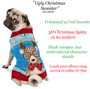 Ugly Dog Christmas Sweaters.Details About Dog Christmas Holiday Ugly Christmas Sweater 3d Plush Embroidered Detail M