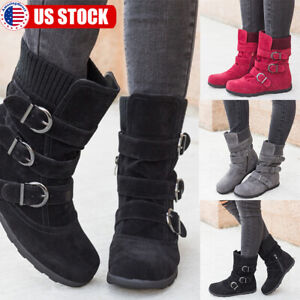 Womens-Winter-Warm-Ankle-Boots-Ladies-Fur-Snow-Buckle-Suede-Shoes-Booties-Size