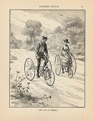 """Cycle print 1878 HOWE Antique Bicycles Vintage Bike Advertisement 17/""""x11/"""""""