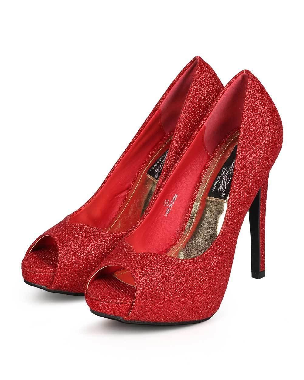 New Women DbDk Aria-1 Single Glitter Peep Toe Classic Single Aria-1 Sole Stiletto Pump Sz b37541
