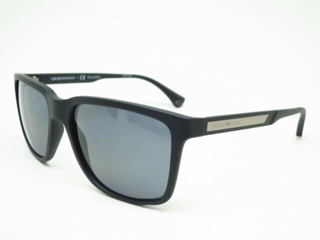 71d22e9964 New Emporio Armani EA 4047 5063 81 Black Rubber with Polarized Grey  Sunglasses