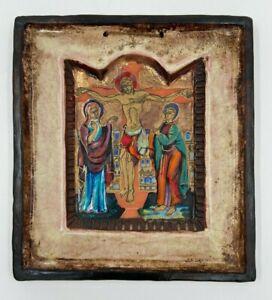 ICONE SUR CERAMIQUEPAR M FOLSCHEID 1950 CHRIST REHAUSSE PEINT A LA MAIN H3132