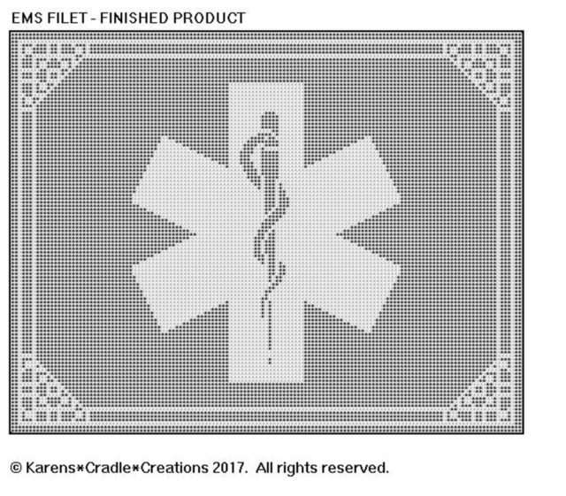 EMS SYMBOL Filet DOILY//TABLE RUNNER Pattern