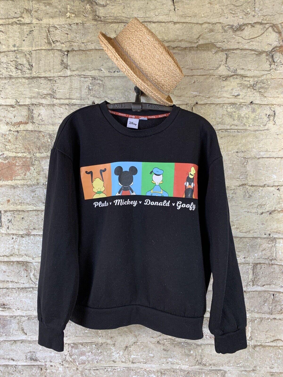 Disney Crew Neck Sweatshirt Woman Size 12/14 M Black Pluto Mickey Donald Goofy