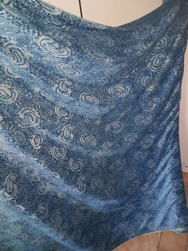 "5m BURNOUT VELVET  TEAL BLUE PAISAILY FLORAL DRESS FABRIC  58/"" WIDE"