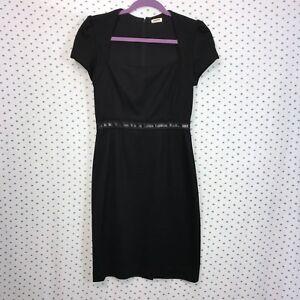 L-039-Agence-Size-4-Black-Cap-Sleeve-Wool-Sheath-Dress-Women-039-s-Silk-Lining-Back-Zip
