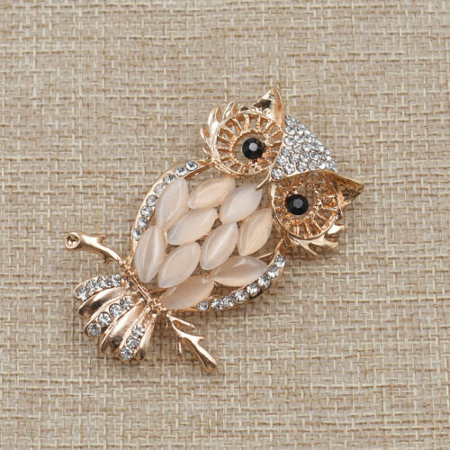 Fashion Opal Crystal Hollow Owl Brooch Pin Alloy Women Chic Jewelry Accessory