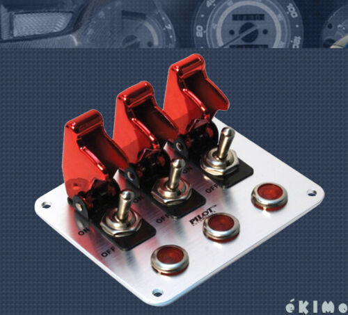 Pilot 3 Row Red Anodized Safety Cover Aircraft Toggle Switch Red Indicator Light