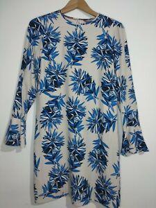 Tommy Hilfiger Jill Classic Blau Blume & Grau Kleid weiß Gr. 4 XS UK Größe 6