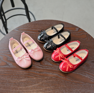New Fashion Girls Bow Princess Shoes Party Dress Kid Flat Heels Shoes