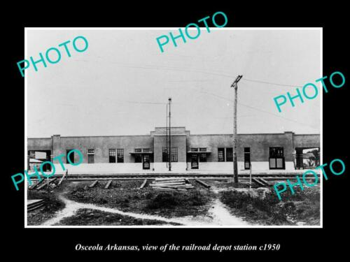 OLD 6 X 4 HISTORIC PHOTO OF OSCEOLA ARKANSAS, THE RAILROAD DEPOT STATION c1950