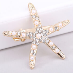 2X Fashion Lady Girl Beach Wedding Natural Starfish Sea Star Hair Clip Hairpin ^