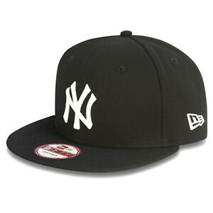 51d038eb5ebd5 NEW ERA MENS 9FIFTY BASEBALL CAP.NEW YORK YANKEES BLACK FLAT PEAK ...