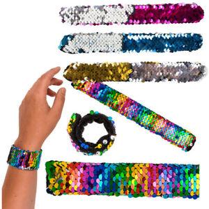 Reversible Sequin Slap Bands Snap Band Bracelet Wristband Girl Party Bag Filler