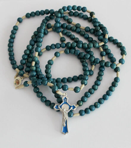 20 Decade Blue Wood Beads Rosary on Cord Holy Rosary of Sacred Mysteries Card
