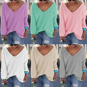 Women-Girls-Casual-Long-Sleeve-Knitted-V-Neck-Loose-Sweater-Jumper-Tops-Knitwear