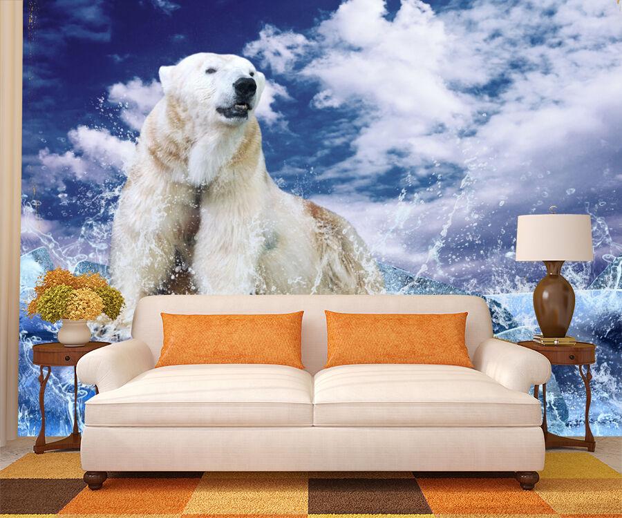 Mega 3D Cold Polar Bear Paper Wall Print Decal Wall Deco Indoor Wall Murals