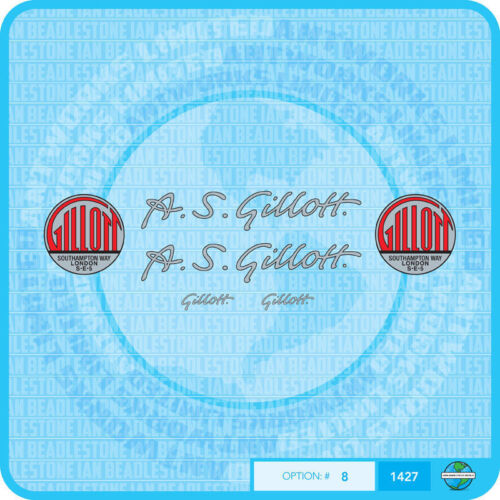 Stickers A S Gillott Bicycle Decals Transfers Set 8