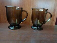 (2) smoked glass brown tint 16 oz rounded footed tankards Anchor Hocking