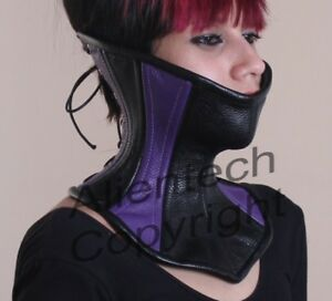 61ef932e45 Bright Purple and Black Real Leather Over Mouth Neck Corset S-XL