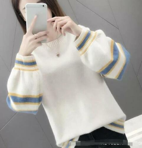 Women/'s Color Block Long Sleeve Knit Pullover Sweater Tops Scoop Neck Blouse