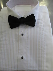 NEW-Pleated-White-Dress-Shirts-Standard-Collar-Mens-New-Formal-Evening-Wear